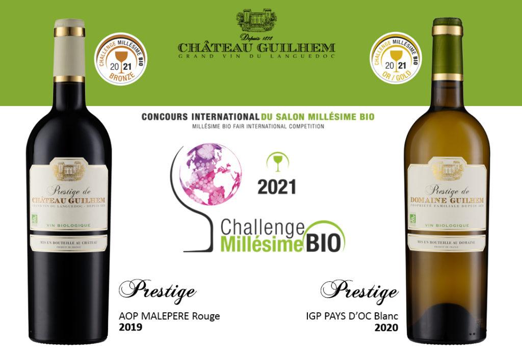 Nos Prestige Rouge et Blanc récompensé au Challenge Millésime BIO 2021